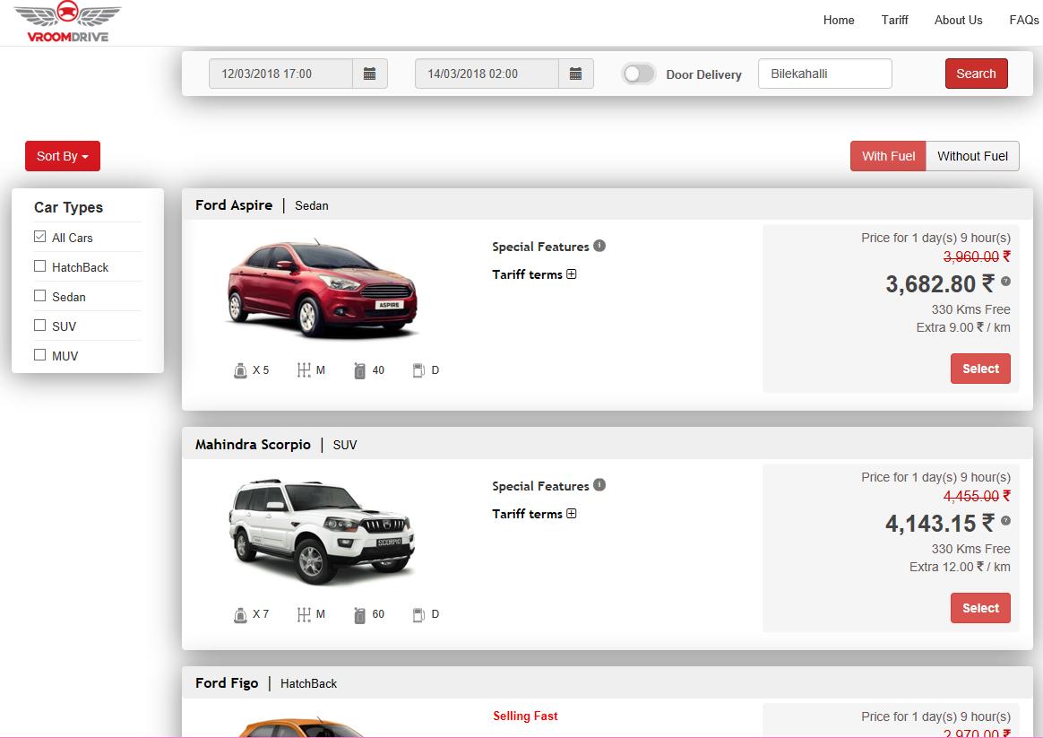 Self Drive Car Rental - Car list
