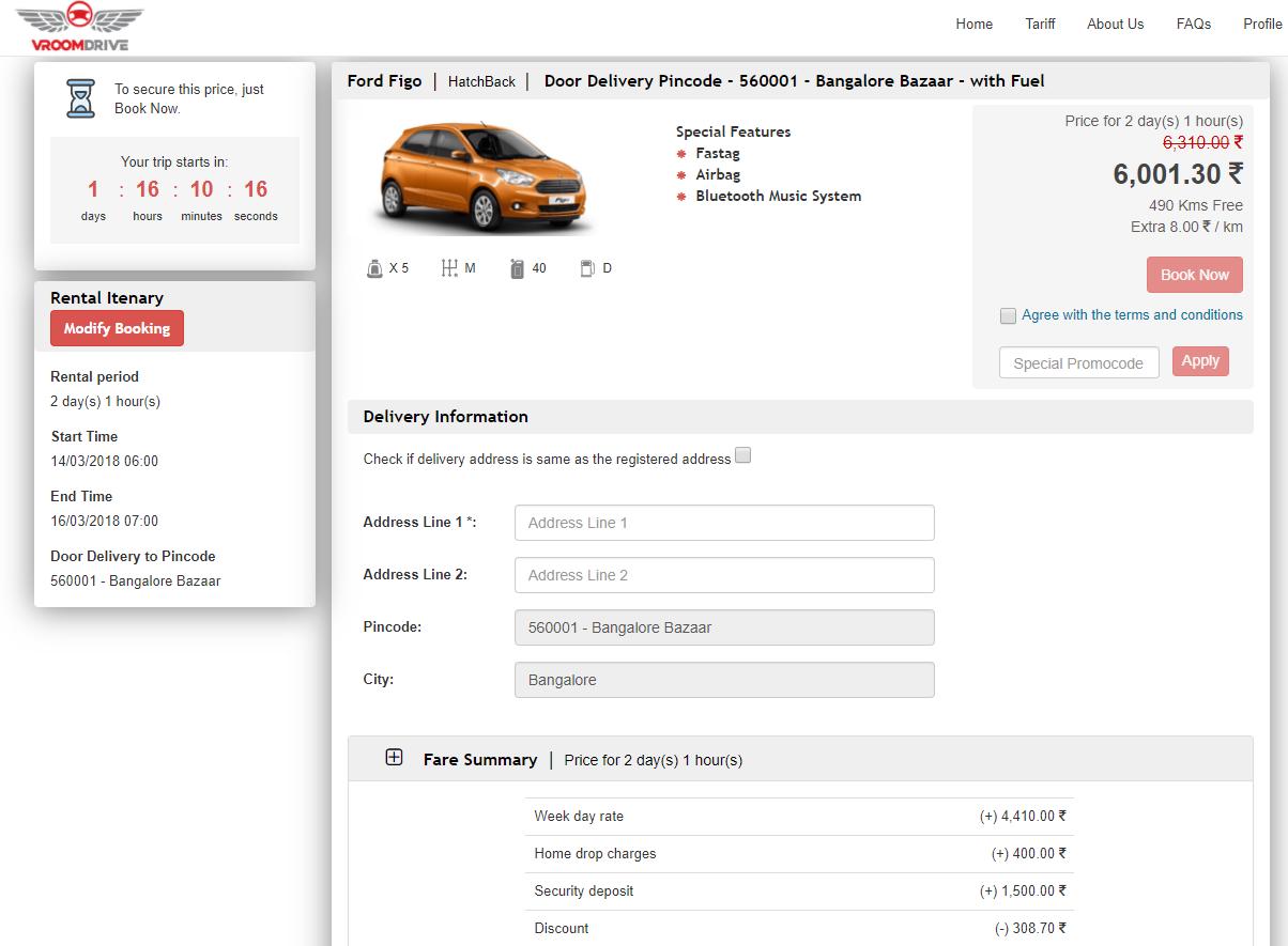 Car rental - Fare summary